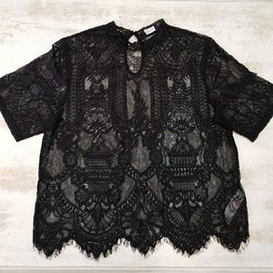 NEW LOOK Black lace shirt